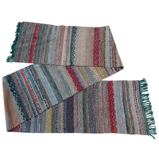 Swedish Hand-Woven Rag Rug - 1′11″ × 13′9″ For Sale