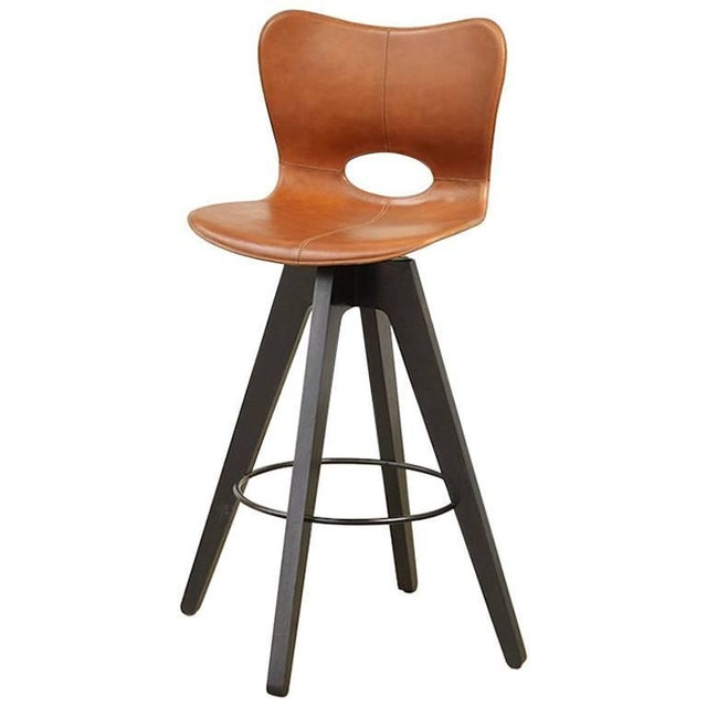 Akmd Collection Leather and Wood Lariat Barstool For Sale - Image 4 of 4