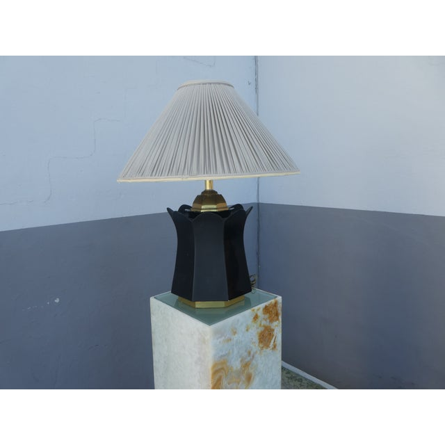 Traditional 70's Brass and Black Ceramic Decorator Accent Lamp For Sale - Image 3 of 13