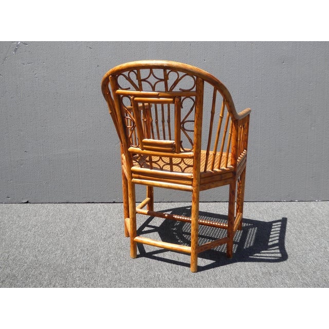 Asian Vintage Chinoiserie Brighton Pavillion Style Rattan Bamboo & Cane Arm Chair For Sale - Image 3 of 11