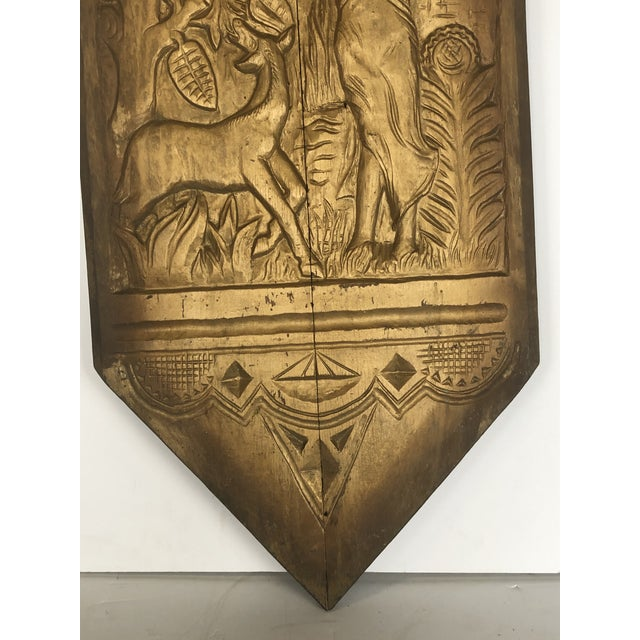 Art Deco 1920s Folk Art Hand Carved Wall Sculpture For Sale - Image 3 of 6