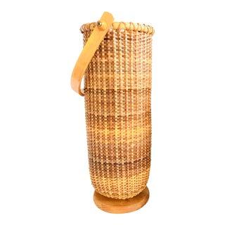 Vintage Bamboo Wicker Bottle Holder Basket Picnic Carrier
