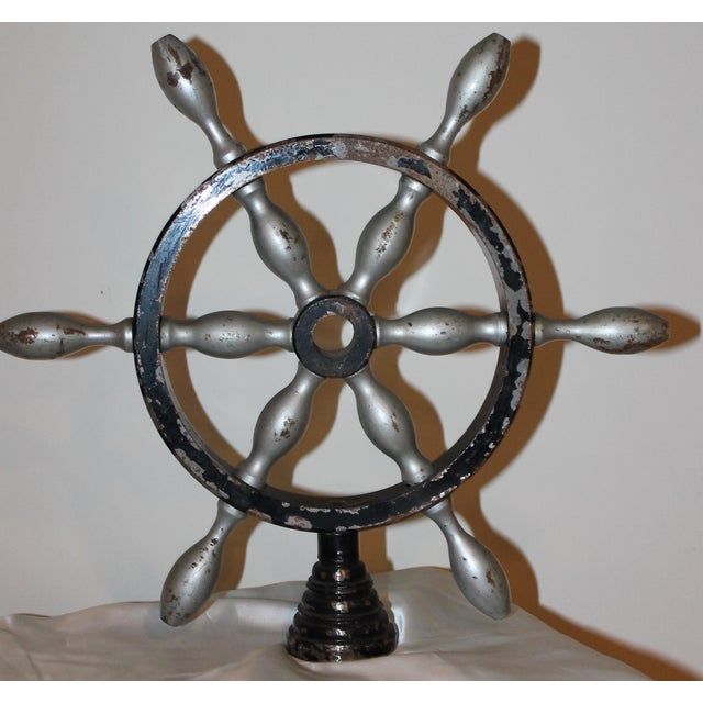 1900 - 1909 Vintage French Metal Ship Wheels - a Pair For Sale - Image 5 of 8