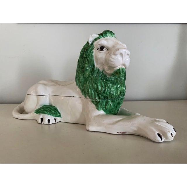 Mid-Century Italian Ceramic Lion Lidded Catchall For Sale - Image 10 of 10