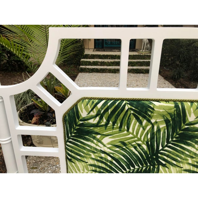 White 1980s Palm Beach Regency Faux Bamboo Lattice Headboard For Sale - Image 8 of 10