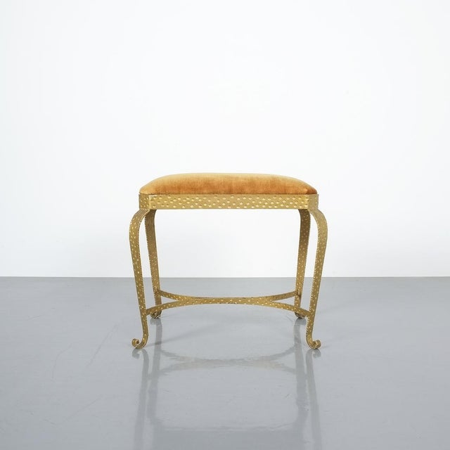 Metal Pair Golden Pier Luigi Colli Iron Bedroom Benches Italy, 1950 For Sale - Image 7 of 12