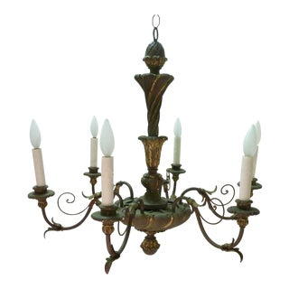 Italian Painted Iron & Wood Chandelier For Sale