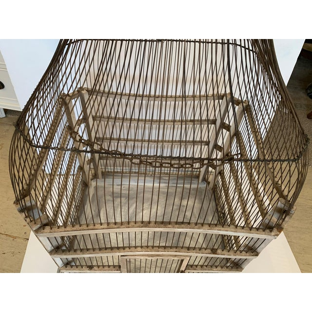 Metal Large Painted Grey Wood & Wire Birdcage For Sale - Image 7 of 12