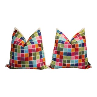 """20"""" Silk Embroidered Color Block Pillows - a Pair For Sale"""