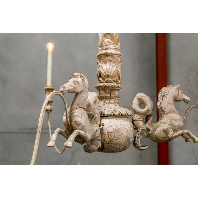 Hand Carved Venetian Horse Chandelier - Image 7 of 11