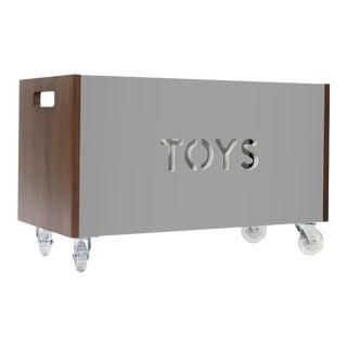 Toy Box Chest on Casters in Walnut With Grey Finish For Sale