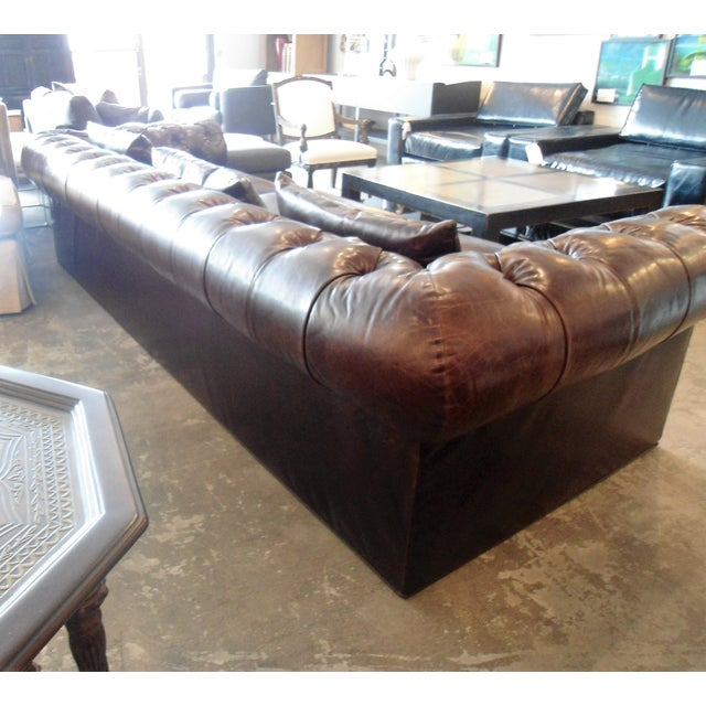 Kravet Chesterfield 3-Seat Sofa, Brown Tufted Leather For Sale - Image 5 of 11