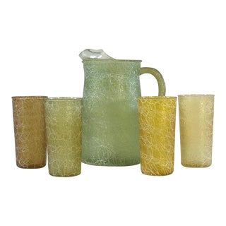 1960s Textured Pitcher & Glass - Set of 5 For Sale