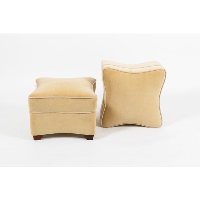 French 1930s Jules LeLeu Upholstered Ottomans - a Pair For Sale - Image 3 of 8