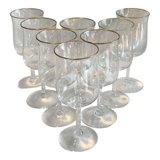 Vintage Lenox Gold Rim Water Stem Crystal Glass - Set of 8
