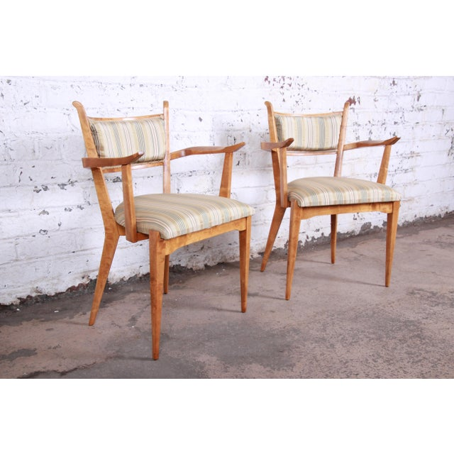 Edmond Spence Swedish Modern Sculpted Tiger Maple Armchairs - a Pair For Sale - Image 13 of 13