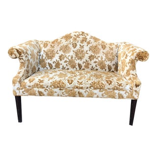 Antique Velvet Floral Settee For Sale