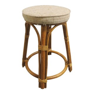 Vintage Bamboo and Rattan Tall Stool With Upholstered Round Seat For Sale