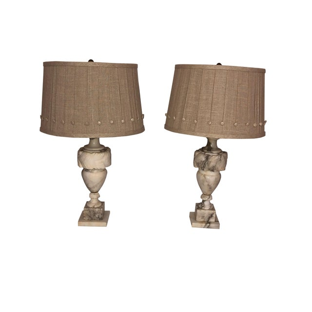 French Marble Lamps With Custom Shades - a Pair For Sale - Image 9 of 11