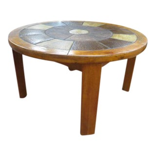 Vintage Danish Modern Solid Teak Round Coffee Table With Tile Top For Sale