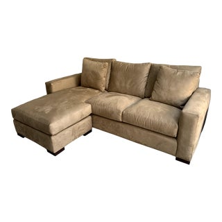 Contemporary Suede Tan Sectional For Sale
