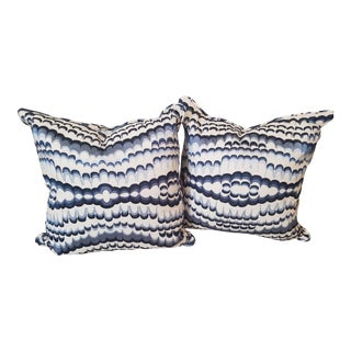 Blue & White Pillows in Thibaut Ebru Embroidery - a Pair For Sale