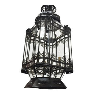 Vintage Moroccan Moorish Clear Glass Chandelier With Bronze Finish Metal For Sale
