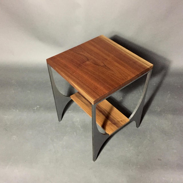 "Brown Richard Velloso ""Curves of Grace"" Black Walnut & Steel Side Tables For Sale - Image 8 of 10"