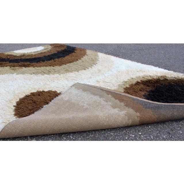 Mid Century Modern Large Shag Rya Wool Area Rug Carpet Black Brown Beige 60s 70s For Sale In Detroit - Image 6 of 7
