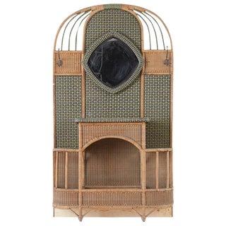 French Art Deco Rattan Wicker Hall Tree Coat Rack For Sale