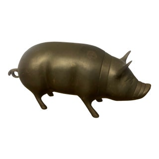 Vintage Brass Pig Figurine For Sale