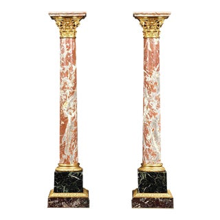19th Century Marble and Bronze French Pedestals