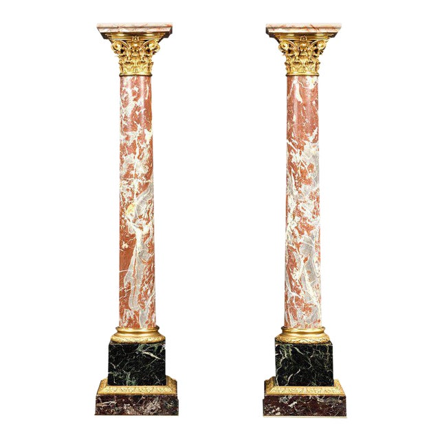 19th Century Marble and Bronze French Pedestals For Sale