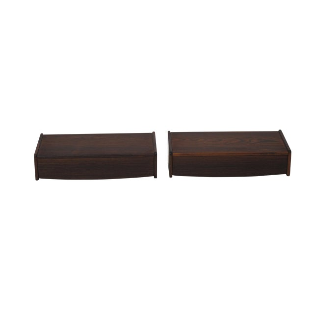 Pair of Floating Danish Rosewood Tables With Drawers For Sale