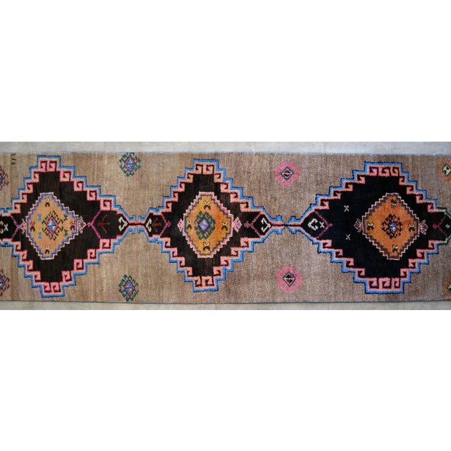 1970s Hand Knotted Natural Colors Full Tribal Design Runner Rug Wide Runner - 3′6″ X 11′4″ For Sale - Image 5 of 11