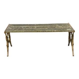 Antique Faux Bois Cast Iron French Victorian Wood Slat Garden Patio Bench For Sale