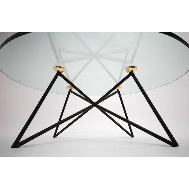 Mid-Century Modern Iron and Brass Glass Top Coffee Table For Sale - Image 3 of 6