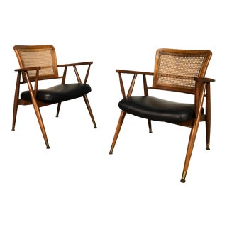 Mid-Century Modern Open Arm Lounge / Office Chair - a Pair For Sale
