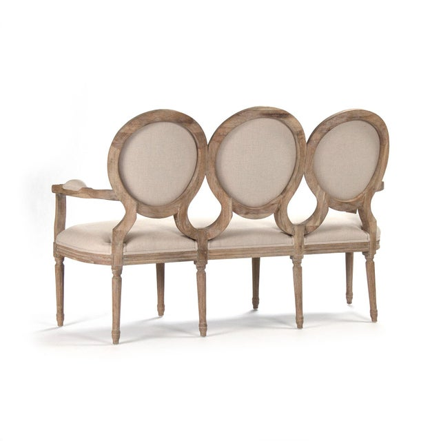 French Country Everest Medallion Settee in Beige For Sale - Image 3 of 5