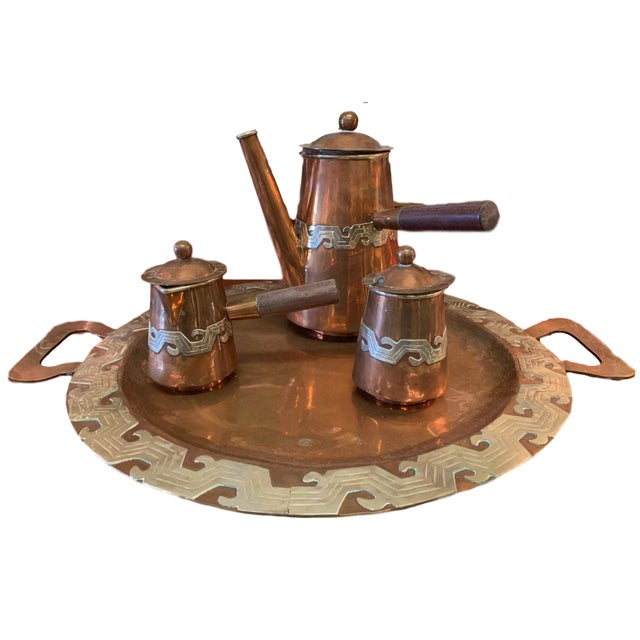 Artisanias Mexico Copper & Silver Coffee Set of 4 For Sale - Image 13 of 13