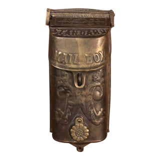Antique Art Nouveau Standard Cast Solid Brass Mailbox For Sale