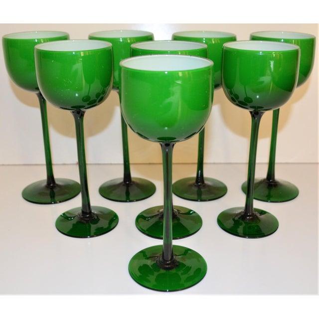 Glass Carlo Moretti White Cased Melon Green Stemware - Set of 8 For Sale - Image 7 of 8