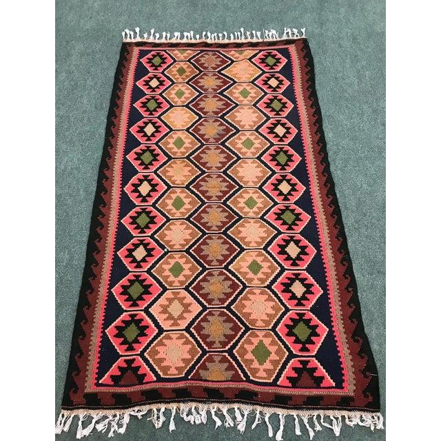 Orange 1990s Vintage Handmade East Turkey Kilim Rug- 3′4″ × 5′8″ For Sale - Image 8 of 8