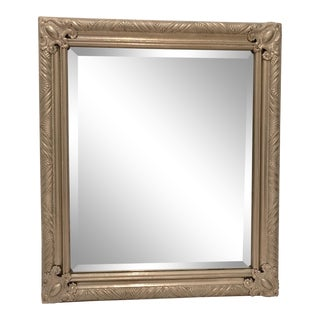 1990s French Silver Leaf Carved-Like Pewter Beveled Mirror For Sale