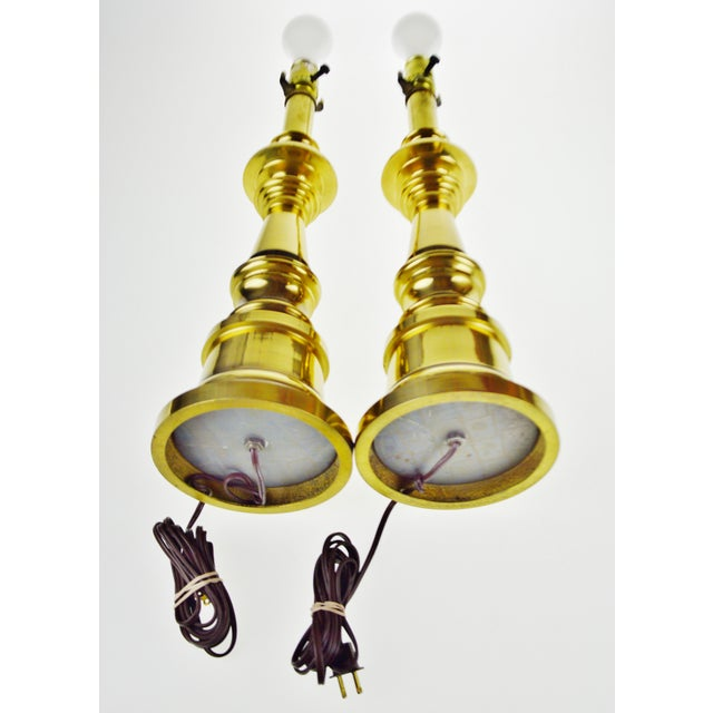 Vintage Brass Candlestick Table Lamps - a Pair For Sale - Image 11 of 13