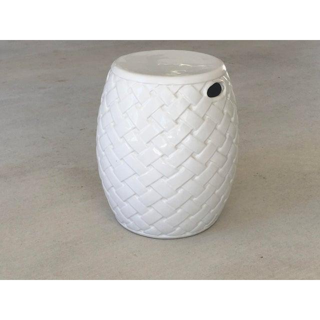 White Wicker Design Ceramic Garden Seat For Sale - Image 8 of 8