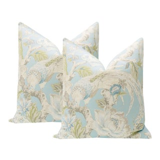 """22"""" Hydrangea Blue Floral Aviary Print Pillows - a Pair For Sale"""