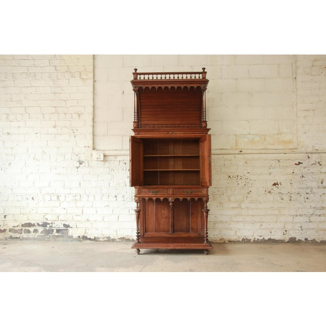 Antique Carved Oak Tall French Bar Cabinet For Sale - Image 4 of 13