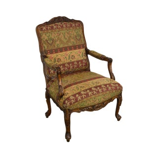 Hancock & Moore Elephant Print Rococo Carved Fauteuil Library Armchair For Sale