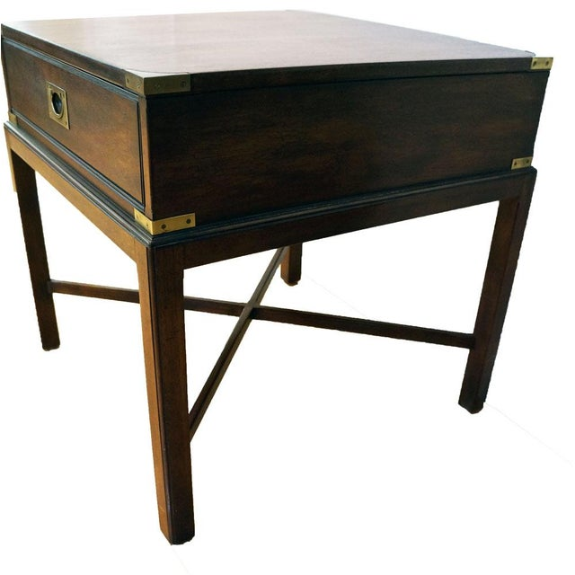 Vintage Campaign-Style Heritage Side Table - Image 3 of 5